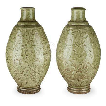 PAIR OF LONGQUAN CELADON-GLAZED VASESMING DYNASTY each sturdily potted with an ovoid body, moulded