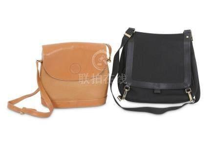 Two Gucci Handbags, to include a black nylon messenger bag,