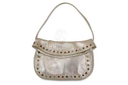 Gianni Versace Gold Leather Shoulder Bag, multicolour crysta