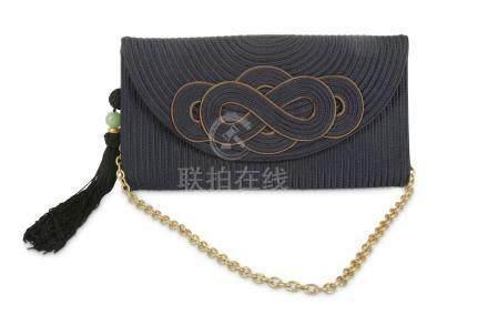 Shanghai Tang Blue Knot Silk Braid Clutch, c. 2015, with tas