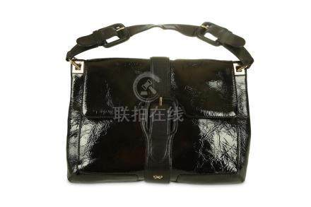 Anya Hindmarch Black Patent Bag, crinkle patent leather with