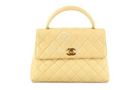 Chanel Beige Caviar Kelly Handbag, c. 1996-97, quilted Cavia