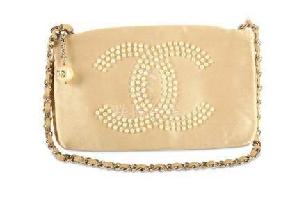 Chanel Champagne Satin Evening Bag, c. 2004-05, statement fa