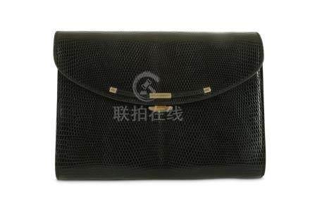 Asprey Vintage Black Lizard Envelope Clutch, gold tone hardw