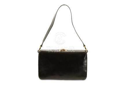 Salvatore Ferragamo Black Patent Leather Handbag, fold over