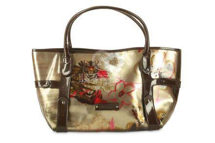 Salvatore Ferragamo PVC Tote, oriental inspired motif on pal