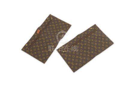 Two Louis Vuitton Monogram Zipped Pouches, designed to be at