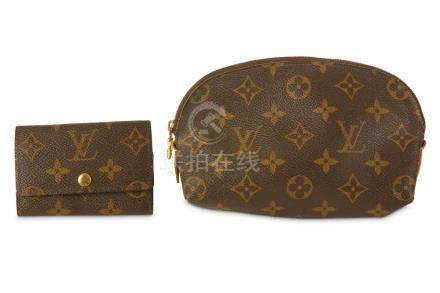 Two Louis Vuitton Items, to include a monogram canvas cosmet