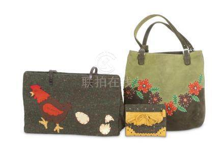 Three Moschino Items, to include a green tweed tote, a felt