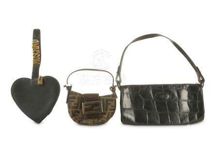 Three Designer Handbags, to include a Fendi mini zucca Crois