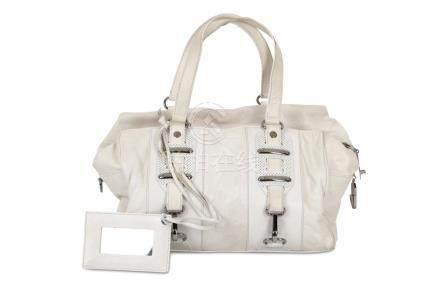 Balenciaga White Chevre Perforated Hook Tote, soft goatskin