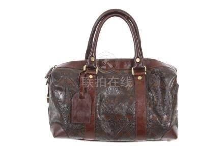 Liberty Brown Leather Iphis Embossed Bowling Bag, iconic Iph