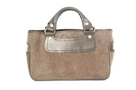 Celine Taupe Boogie Bag, embossed suede body with metallic l