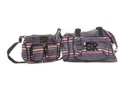 Two Sonia Rykiel Canvas Bags, stripy canvas body in shades o