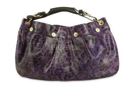 Mulberry Grape Leopard Print Mitzy Bag, purple printed leath