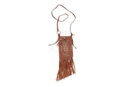 Yves Saint Laurent Brown Fringed Crossbody Bag, stud 'YSL' d