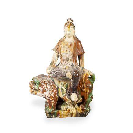 """""""Guanyin"""", Chinese sculpture in Ming-style glazed porcelain,"""