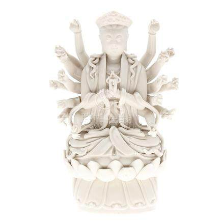"""""""Buddha with eighteen arms"""", Chinese sculpture in """"Blanc de"""