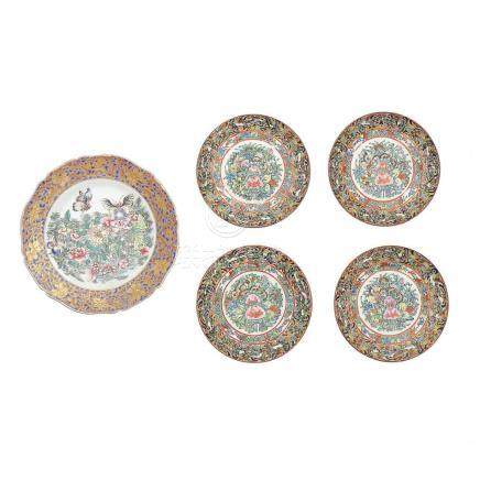 Chinese dish and set of four dishes in Cantonese porcelain,