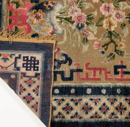 Chinese carpet in silk, wool and metallic threads, first thi
