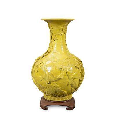 Chinese vase in yellow porcelain with relief decoration, 20t