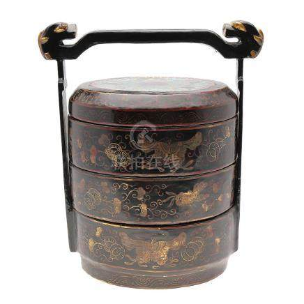 Chinese multiple box in lacquered wood and cloisonné enamel