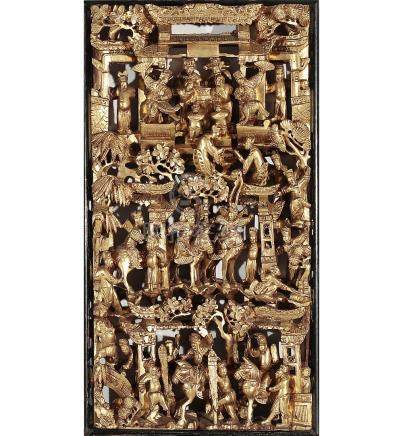 Chinese Ningpo panel in carved and gilt wood, mid 20th Centu