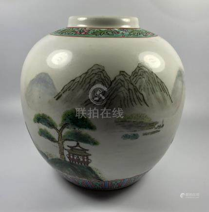 A CHINESE OVOID FORM GINGER JAR WITH TREE AND MOUNTAIN SCENES, SIGNED TO SIDE AND BASE, HEIGHT 18.