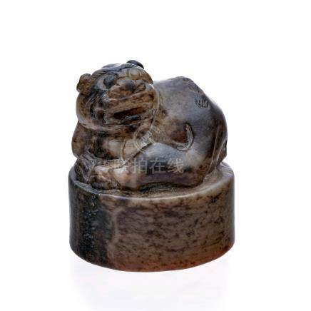 Sceau circulaire en serpentine - Chine - diam. 4 cm /