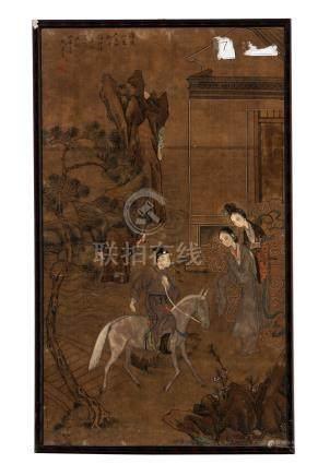 Cavalier de retour et deux femmes - peinture sur textile - Chine - 74x43 - 5 cm (peinture - à vue) /