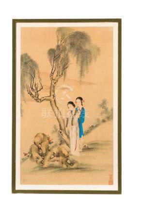 Femmes lisant dans un paysage - peinture sur soie - Chine - sceaux - 84 - 5x50 cm / Women reading in