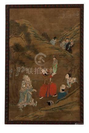 Homme portant un enfant et autres personnages dans un paysage - peinture sur soie - Chine - 61x39 cm