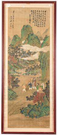 Personnages dans un paysage - peinture sur soie - Chine - dynastie Qing - 149 - 5x52 - 5 cm (