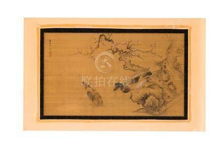 Couple de canards - peinture sur soie - Chine - inscriptions et sceaux - 71x41 - 5 cm / A couple
