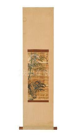 Bambous sur fond or - peinture montée en kakemono - Japon - XXe s. - 46x20 cm (peinture) / Bamboos