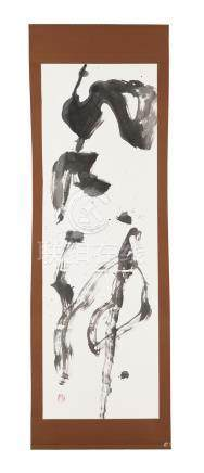 Ogawa Gaboku - Dieu du vent - calligraphie montée en kakemono - Japon - XXe s. - 208x68 cm (