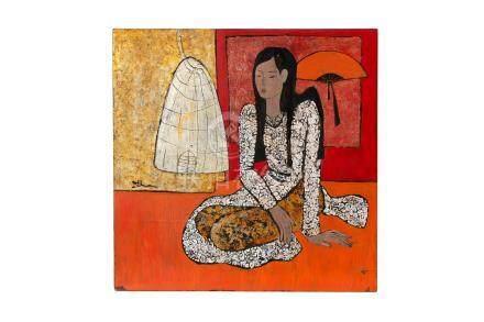 Femme et oiseau - panneau en laque - Vietnam - XXe s. - 40x40 cm / Woman and bird - lacquer