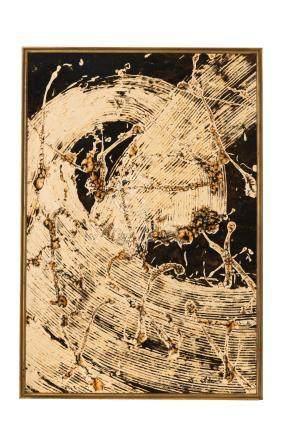 """S Ide (XX) - """"La vie"""" - encre de Chine sur papier marouflé sur panneau - signé - 105 - 5x72 - 5 cm /"""