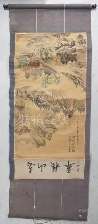 Chine. - Paysage. - Aquarelle sur papier. - 127 x 61 cm. -