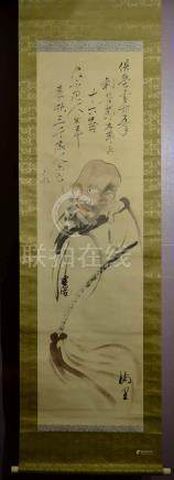Japanese Water Color Scroll Painting - Monk