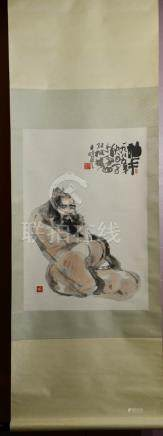 Chinese Water Color Scroll Painting - Poet
