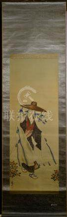 Japanese Water Color Scroll Painting - Lady with Hat