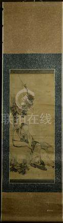 Chinese Water Color Scroll Painting - Elder