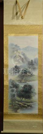 Japanese Water Color Scroll Painting - Lake Scene