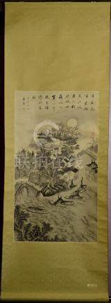 Chinese Water Color Scroll Painting - Boat Scene