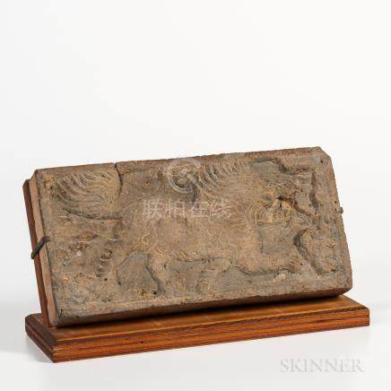 Tomb Pottery Tile, China, gray earthenware depicting a mythical beast in low relief, with stand, lg