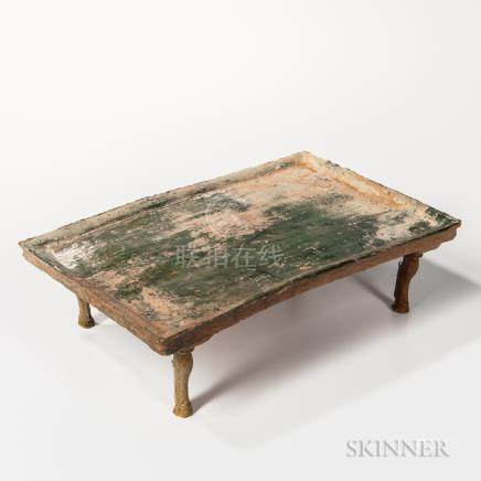 Tomb Pottery Tray, China, Han dynasty, rectangular, with four separately made cabriole legs with ho