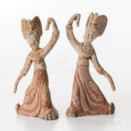 Two Tomb Pottery Figures, China, each dancing figure with flowing robes and elaborate headdress, wi
