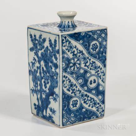 Square Blue and White Wine Bottle, Japan, 19th/20th century, decorated with two bird-and-flower des