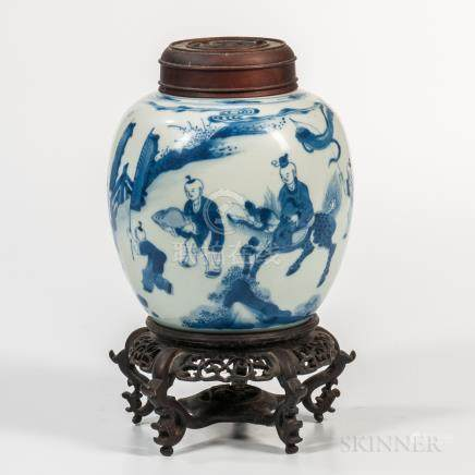 Small Blue and White Ginger Jar and Wood Cover, China, Kangxi style, oval form with short bisque ne